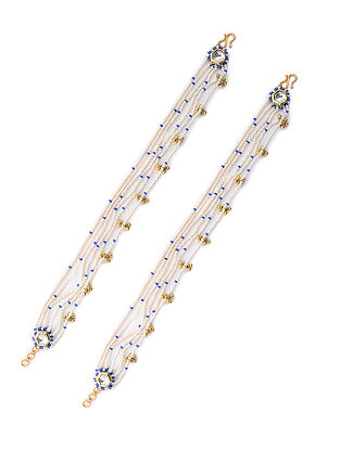 Blue Gold Tone Pearl Beaded Anklets