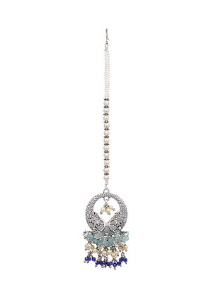 Grey Blue Silver Tone Maang Tikka with Pearls