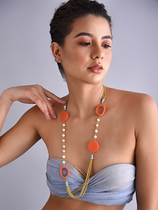 Orange Gold Tone Pearl Beaded Necklace