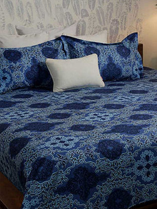 Fleur Blue Printed Woven Cotton Double Bedcover (90in x 98in)