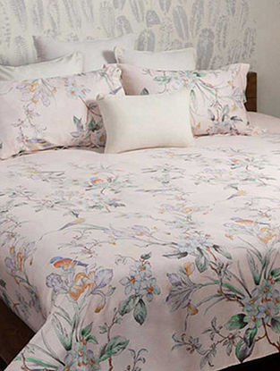 Pink Printed Woven Cotton Double Bedcover (90in x 98in)