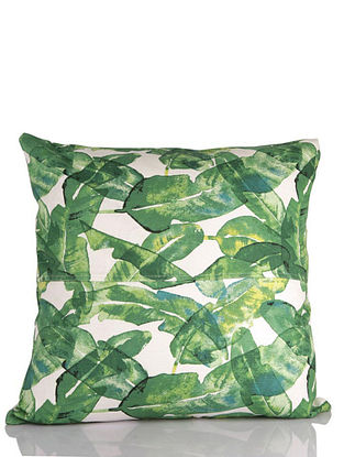 Palm Grove Green and White Cotton Cushion Cover (18in x 18in)