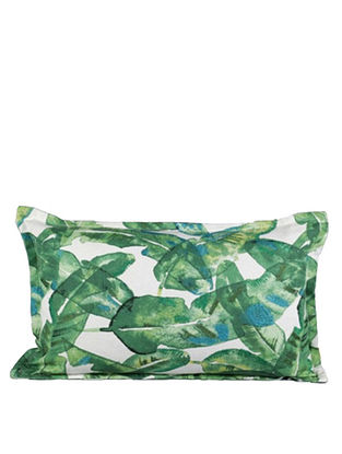 Palm Grove Green and White Cotton Cushion Cover (12in x 18in)