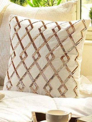 Gilded Grid White and Gold Hand Embroidered Cotton Cushion Cover (18in x 18in)