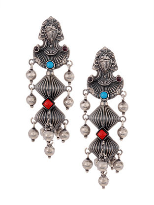 Turquoise Coral Tribal Silver Earrings