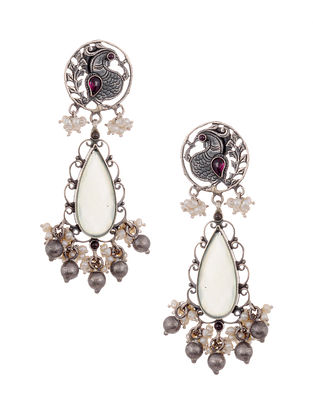 Green Maroon Tribal Silver Earrings with Pearls