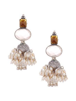 Yellow Tribal Silver Jhumki Earrings with Pearls