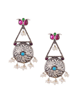 Maroon Turquoise Tribal Silver Earrings with Pearls