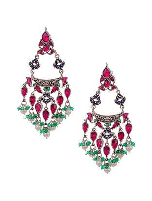 Maroon Green Tribal Silver Chaandbali Earrings with Pearls
