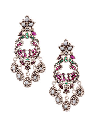 Maroon Green Tribal Silver Earring with Pearls