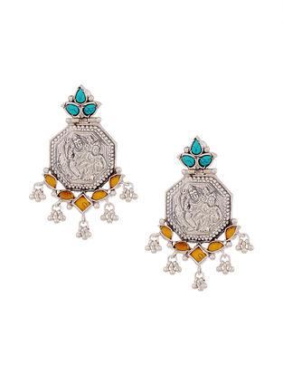 Yellow Turquoise Tribal Silver Earrings