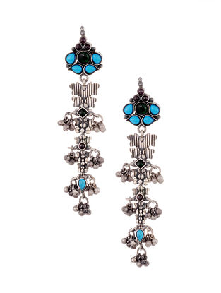 Multicolored Tribal Silver Earrings with Pearls