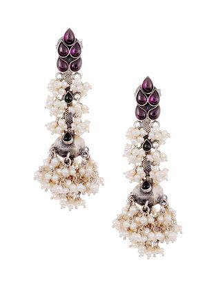 Maroon Green Kempstone Encrusted Tribal Silver Earrings with Pearls
