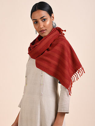 Red Handwoven Lambswool Scarf