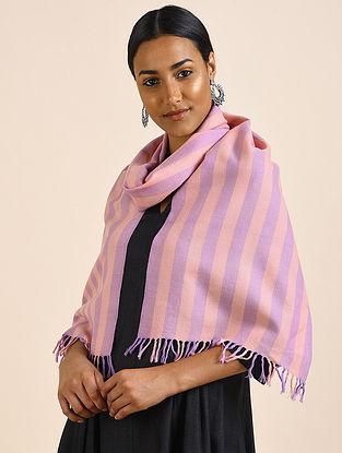 Peach-Purple Handwoven Lambswool Scarf