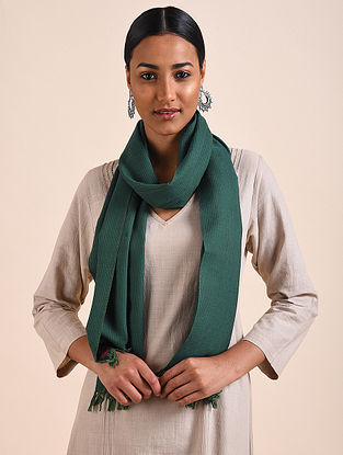 Teal Green Handwoven Lambswool Scarf