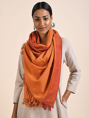Orange Handwoven Lambswool Stole