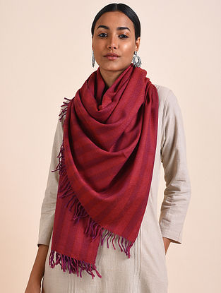 Red Handwoven Lambswool Stole