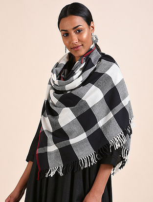 Black-White Handwoven Lambswool Stole