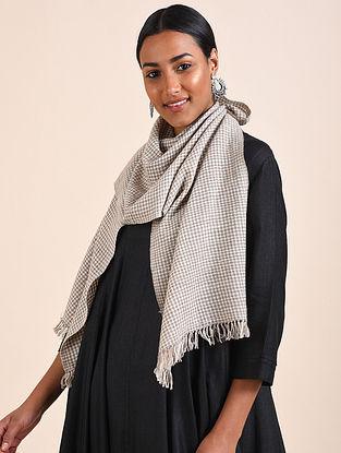 Ivory-Grey Handwoven Pashmina Scarf