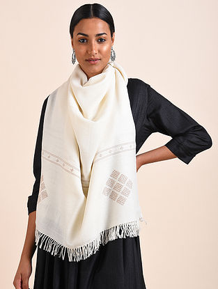 Ivory Handwoven Lambswool Stole