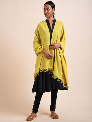 Yellow Handwoven Lambswool Shawl
