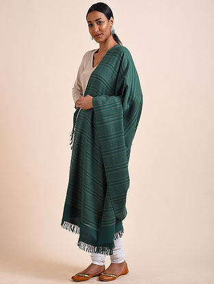Green Handwoven Lambswool Shawl