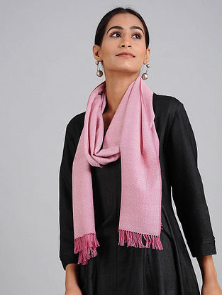Pink Handwoven Lambswool Scarf