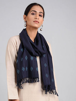 Blue Handwoven Lambswool Scarf