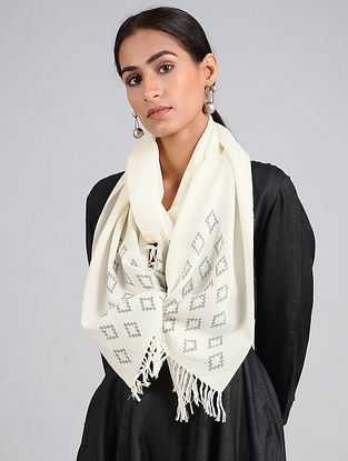 White Handwoven Lambswool Scarf