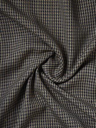 Ivory-Black Handwoven Lambswool Mens Fabric
