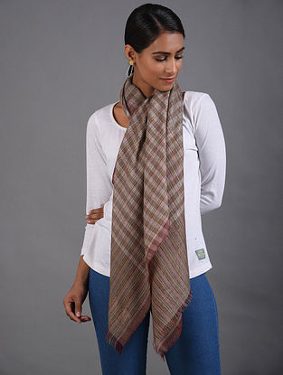 Brown-Off-White Handwoven Pashmina Stole
