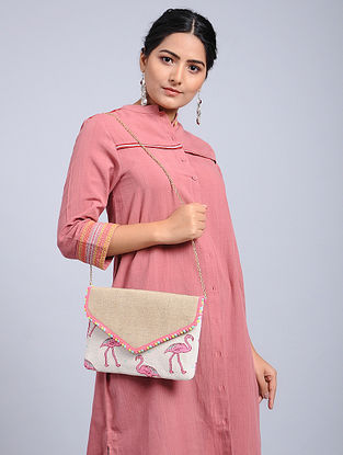 White-Multicolored Jacquard Sling Bag