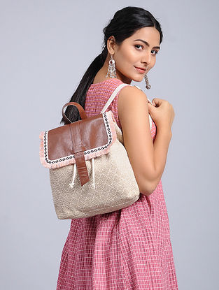 White-Brown Jacquard Backpack