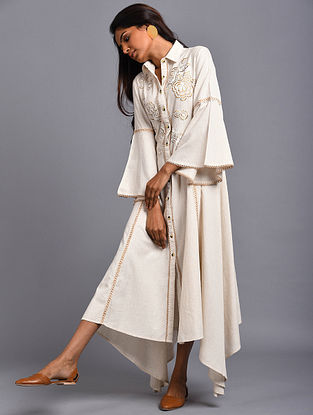Granada Ivory Embroidered Organic Cotton Dress