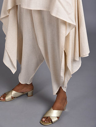 Crete Ivory Flowy Organic Cotton Pants
