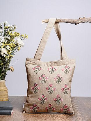 Beige-Multicolored Embroidered Cotton Tote Bag