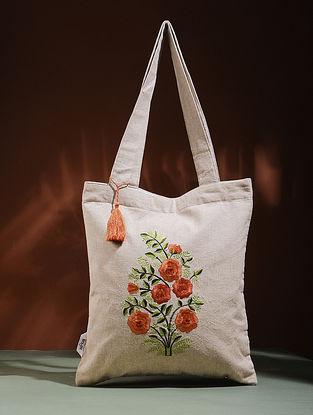 Beige-Orange Embroidered Cotton Tote Bag