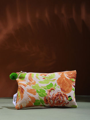 Beige-Orange Embroidered Cotton Pouch