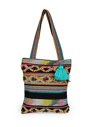 Multicolored Handcrafted Cotton Tote Bag with Tassels