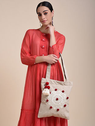 Beige Red Handcrafted Embroidered Cotton Tote Bag with Pom Poms