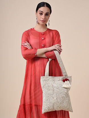 Beige White Handcrafted Embroidered Cotton Tote Bag with Tassels