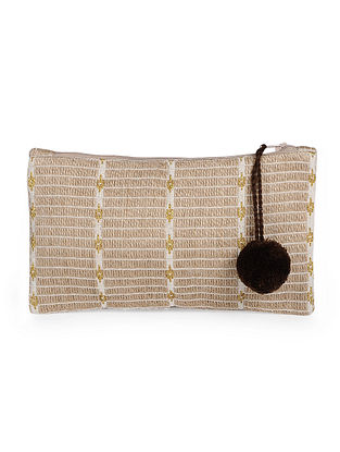 Beige Handcrafted Jute Cotton Pouch with Pom Pom