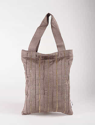Brown Poly Dupion Silk Tote Bag