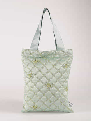 Green Poly Dupion Silk Tote Bag