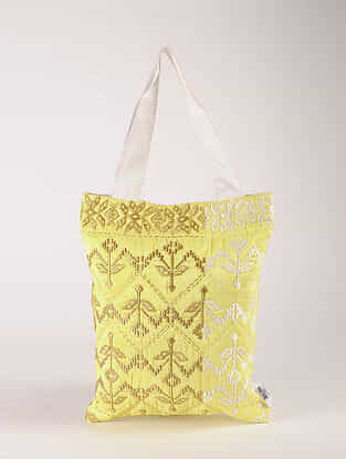 Yellow Poly Dupion Silk Tote Bag