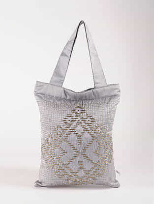 Grey Poly Dupion Silk Tote Bag