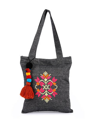 Charcoal Handcrafted Cotton Tote Bag