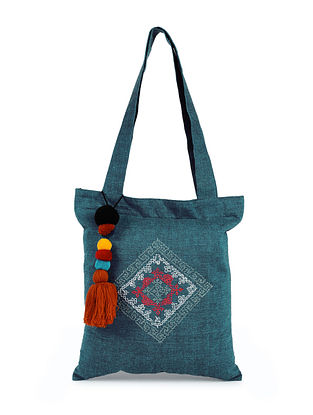 Teal Handcrafted Cotton Tote Bag