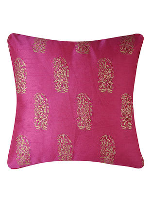 Fuchsia-Golden Printed Dupion Silk Cushion Cover (16in x 16in)